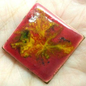 vintage enamel square diamond enamel copper brooch